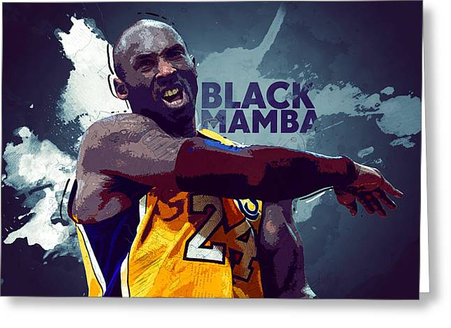 Artest Houston Rockets Greeting Cards - Kobe Bryant Greeting Card by Semih Yurdabak