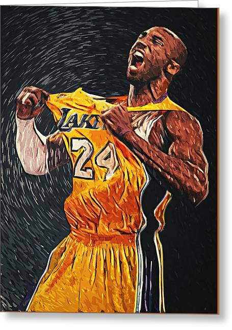 Lebron Digital Greeting Cards - Kobe Bryant Greeting Card by Taylan Soyturk