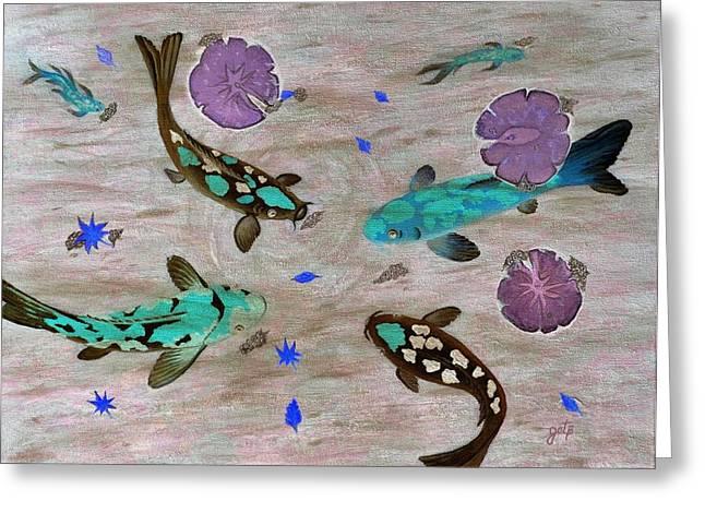 Water Lilly Greeting Cards - Koi Fish Feng Shui Greeting Card by Georgeta  Blanaru