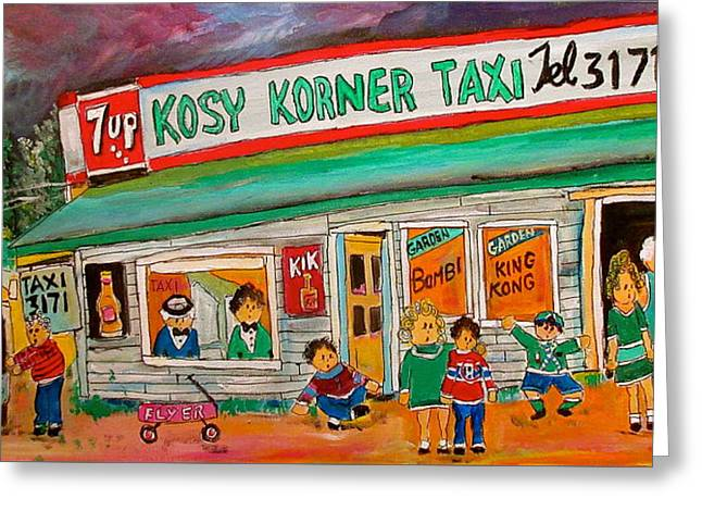 Kosy Korner Taxi Plage Laval Greeting Card by Michael Litvack