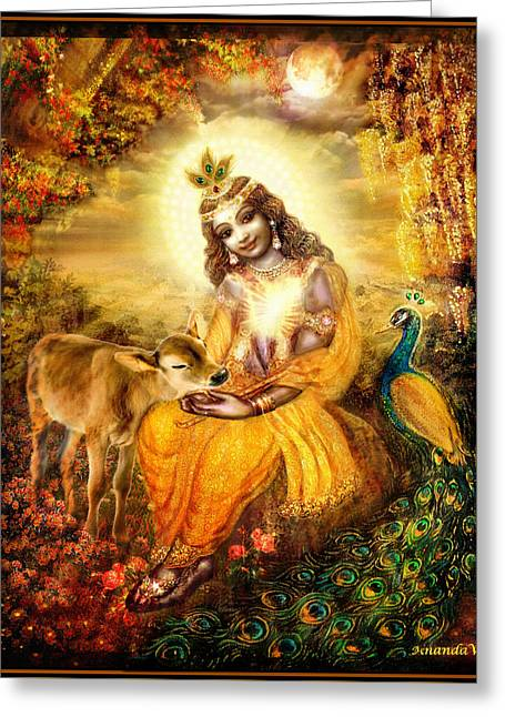 Angel Art Greeting Cards - Krishna with the Calf Greeting Card by Ananda Vdovic