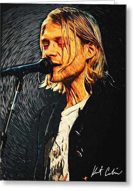 Kurt Cobain Greeting Card by Taylan Apukovska