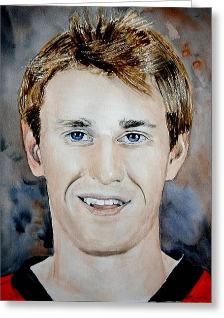 Hockey Paintings Greeting Cards - Kyle Turris Greeting Card by Betty-Anne McDonald