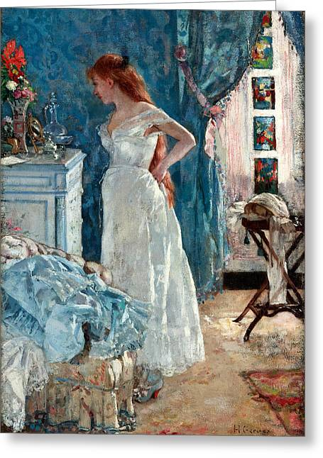 Nightdress Greeting Cards - La Toilette Greeting Card by Henri Gervex