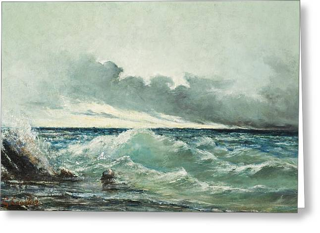 La Vague Greeting Card by Gustave Courbet