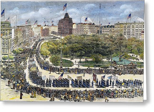 1882 Greeting Cards - Labor Day Parade, 1882 Greeting Card by Granger