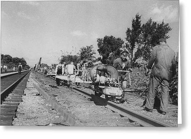 """""""work Crew"""" Greeting Cards - Laborers Working on Track Greeting Card by Chicago and North Western Historical Society"""