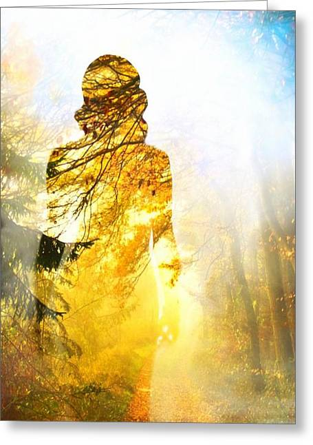 Mystic Art Greeting Cards - Lady Autumn Greeting Card by Lilia D