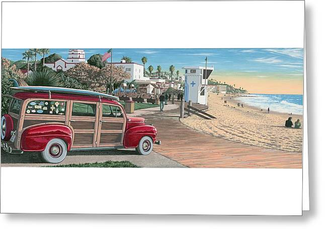 Pch Paintings Greeting Cards - Laguna Beach Woodie Greeting Card by Andrew Palmer