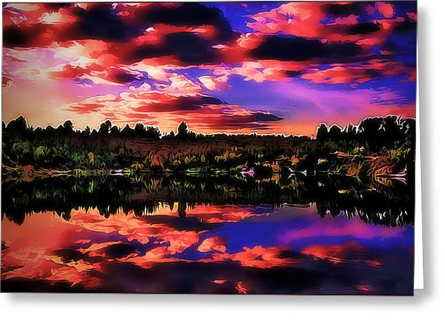 Moon Set Digital Art Greeting Cards - Lake Greeting Card by Alexey Bazhan