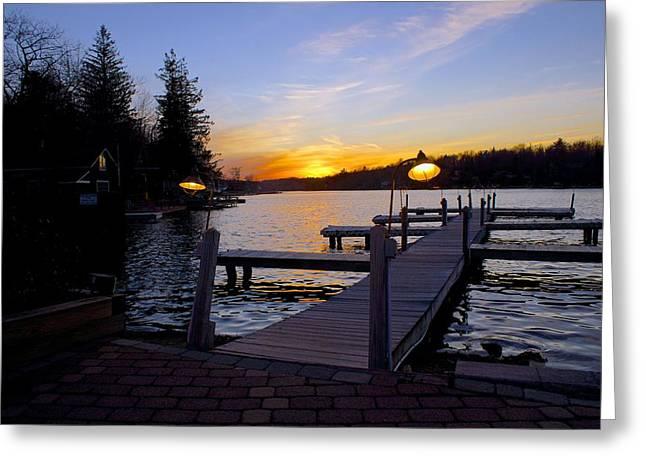 Fed Greeting Cards - Lake Harmony Sunset Poconos Greeting Card by Blair Seitz