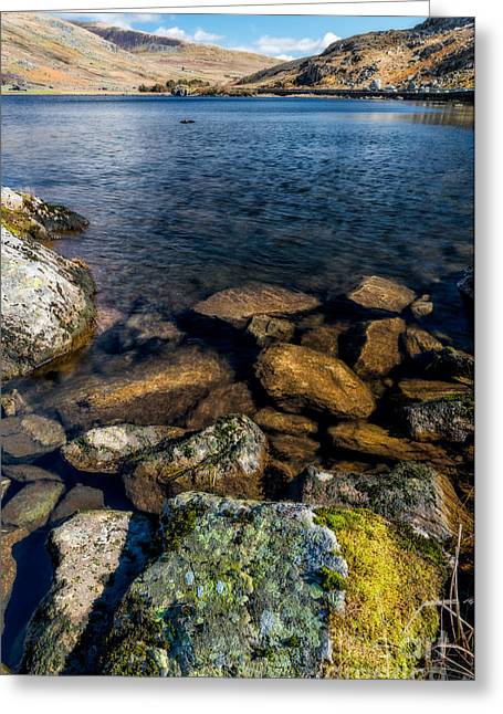 Photographs Digital Art Greeting Cards - Lake Ogwen Greeting Card by Adrian Evans