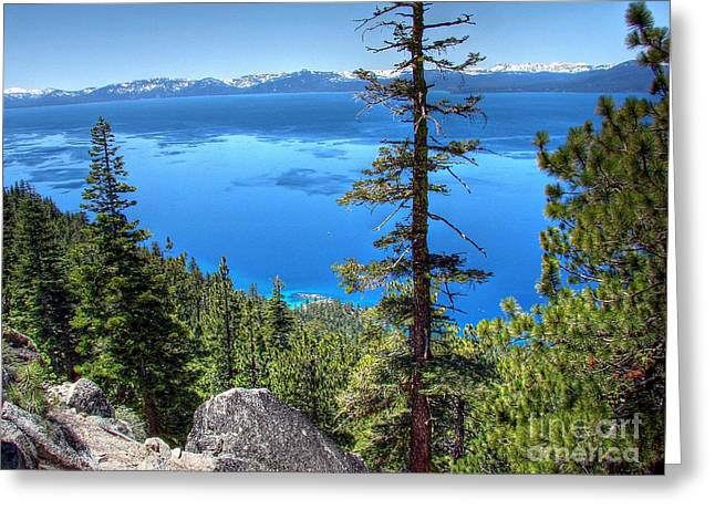 Sand Harbor Greeting Cards - Lake Tahoe from Flume Trail over Sand Harbor State Park Greeting Card by Scott McGuire