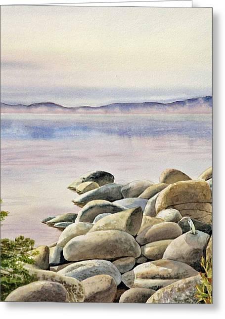 Gray Heron Greeting Cards - Lake Tahoe Greeting Card by Irina Sztukowski