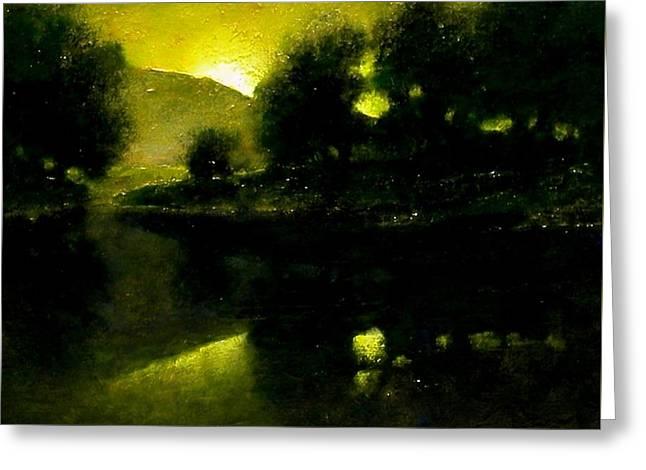Lakeside Sunset Greeting Card by Jim Gola
