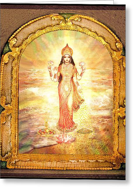 Goddess Durga Mixed Media Greeting Cards - Lakshmis Birth from the Milk Ocean Greeting Card by Ananda Vdovic
