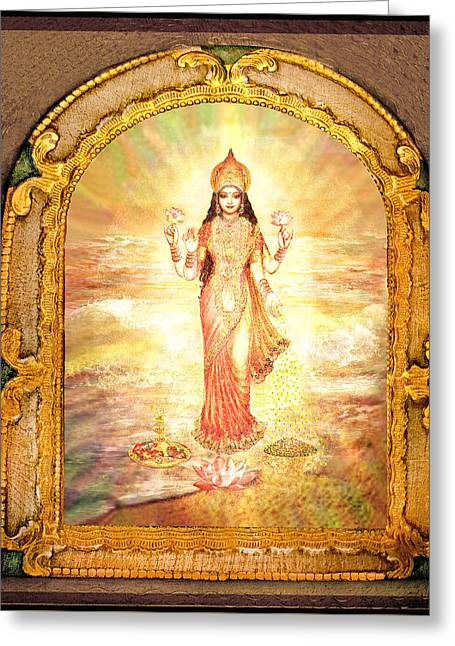 Goddess Durga Greeting Cards - Lakshmis Birth from the Milk Ocean Greeting Card by Ananda Vdovic