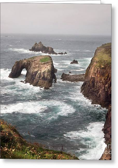 Lands End Cornwall Greeting Card by Linsey Williams