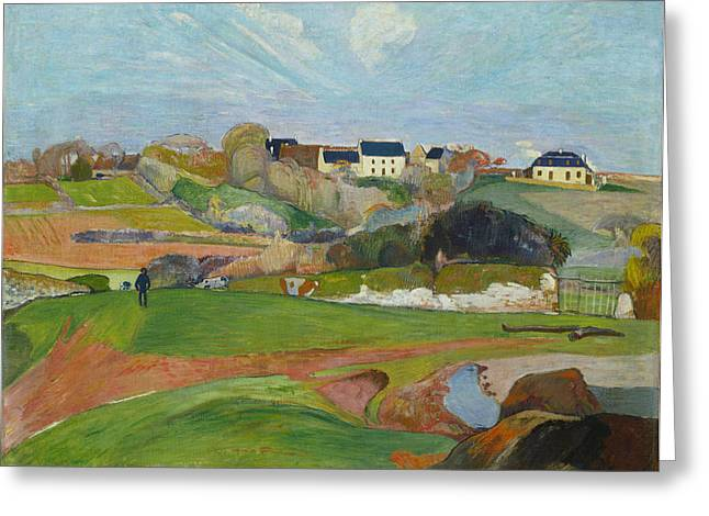 Harvest Art Greeting Cards - Landscape At Le Pouldu Greeting Card by Paul Gauguin