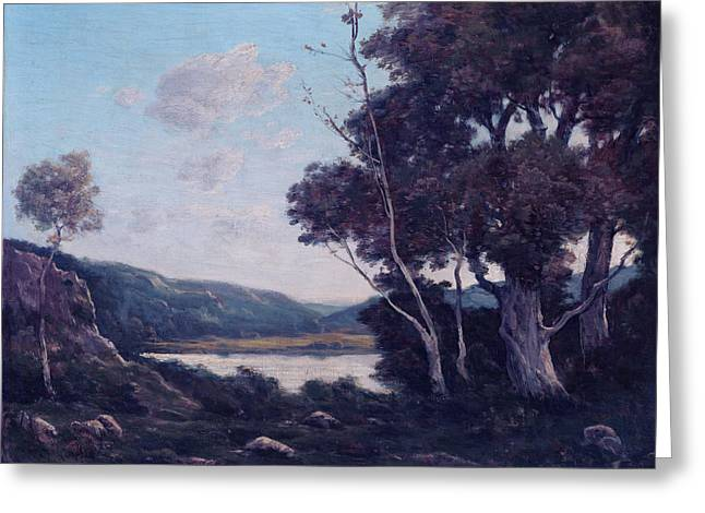 Outlook Paintings Greeting Cards - Landscape Greeting Card by Henri-joseph Harpignies