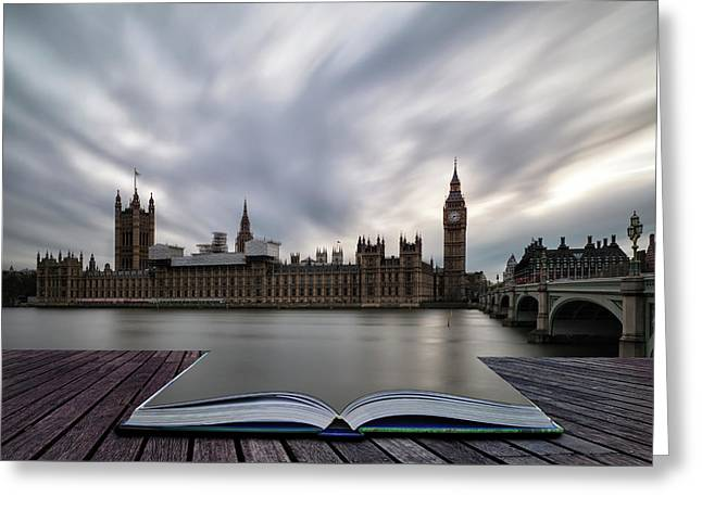 Landscape Image Of Big Ben And Houses Of Parliament In Westminst Greeting Card by Matthew Gibson