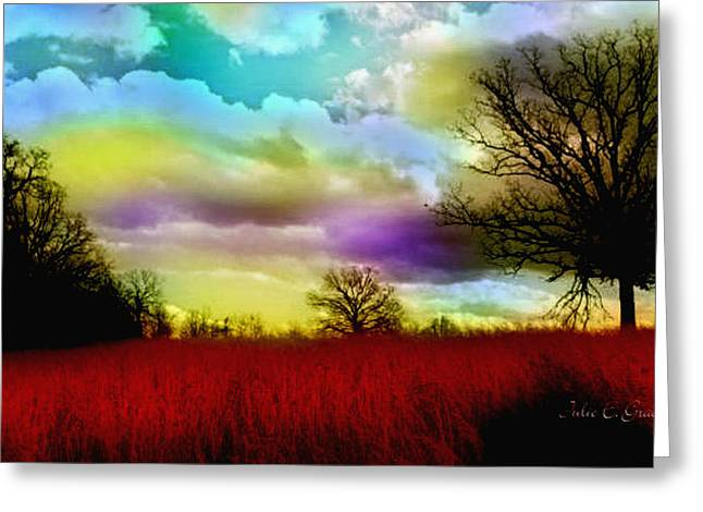 Surreal Landscape Mixed Media Greeting Cards - Landscape in Red Greeting Card by Julie  Grace