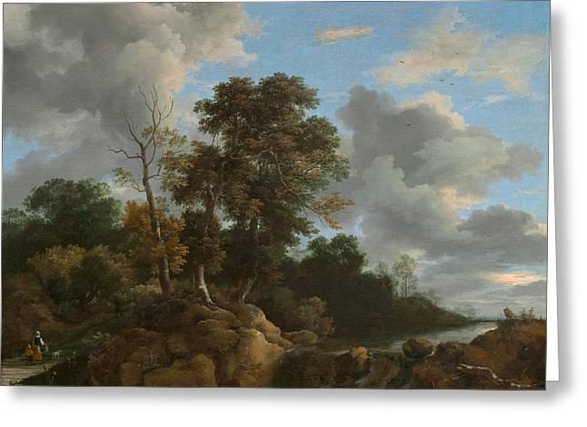 Outlook Paintings Greeting Cards - Landscape Greeting Card by Jacob Van Ruisdael