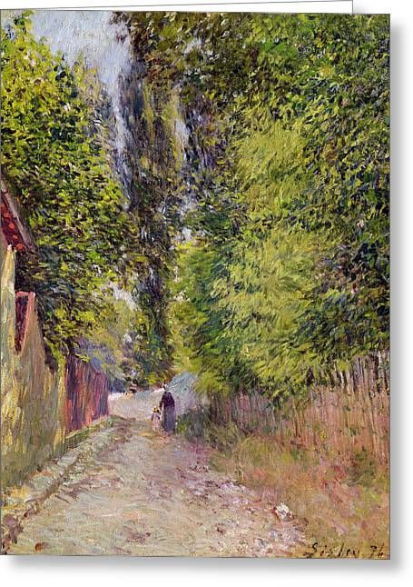 Tree Lines Greeting Cards - Landscape near Louveciennes Greeting Card by Alfred Sisley