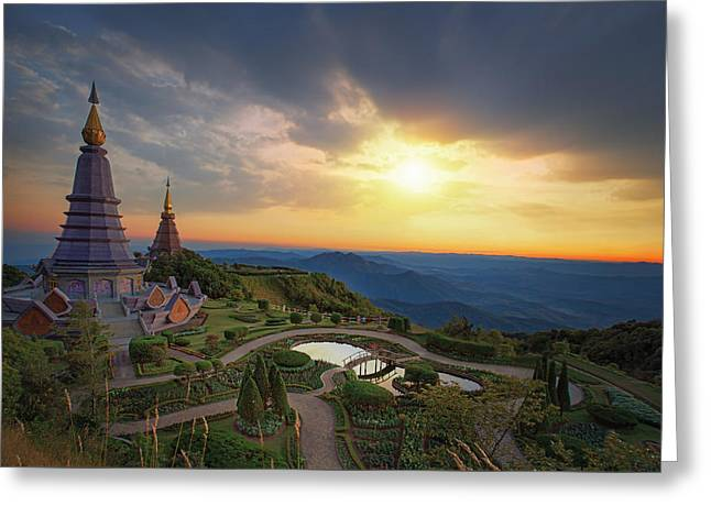 Green Day Greeting Cards - Landscape of two pagoda Greeting Card by Anek Suwannaphoom