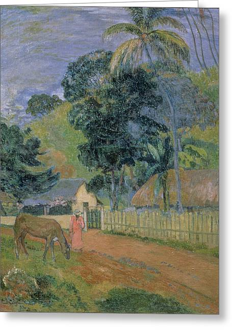 Animals Greeting Cards - Landscape Greeting Card by Paul Gauguin