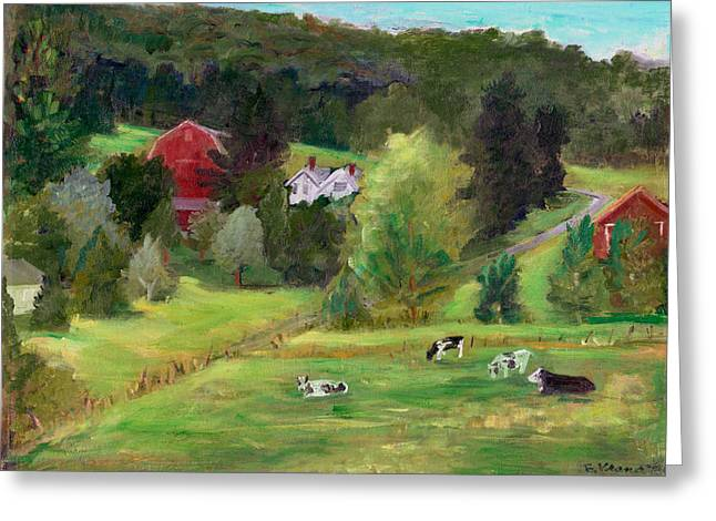 Finger Lakes Paintings Greeting Cards - Landscape with Cows Greeting Card by Ethel Vrana