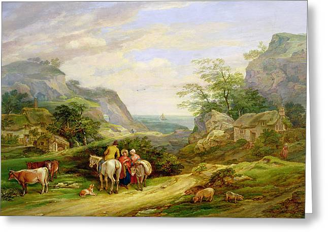 Landscape With Figures And Cattle Greeting Card by James Leakey