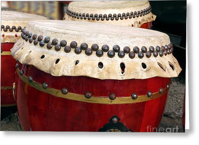 Large Chinese Drums Greeting Card by Yali Shi
