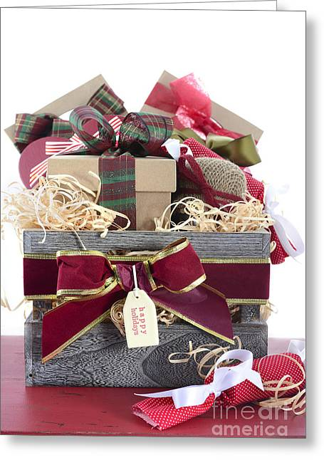 Christmas Eve Greeting Cards - Large Christmas Gift Hamper Greeting Card by Milleflore Images