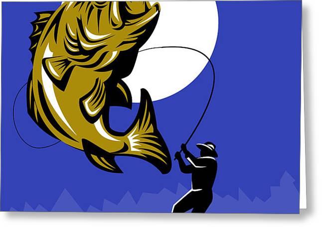 Largemouth Bass Fish and Fly Fisherman Greeting Card by Aloysius Patrimonio