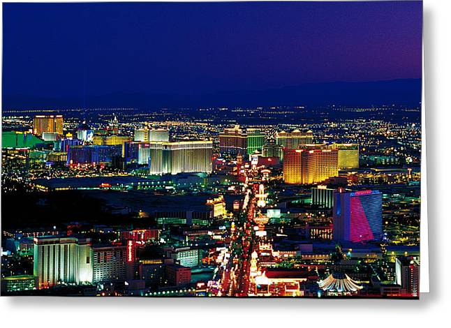 Brightly Lit Greeting Cards - Las Vegas Nv Greeting Card by Panoramic Images