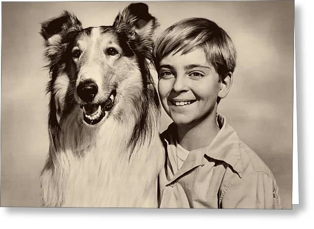 1950s Portraits Greeting Cards - Lassie and Tommy Rettig 1958 Greeting Card by Seattle Times