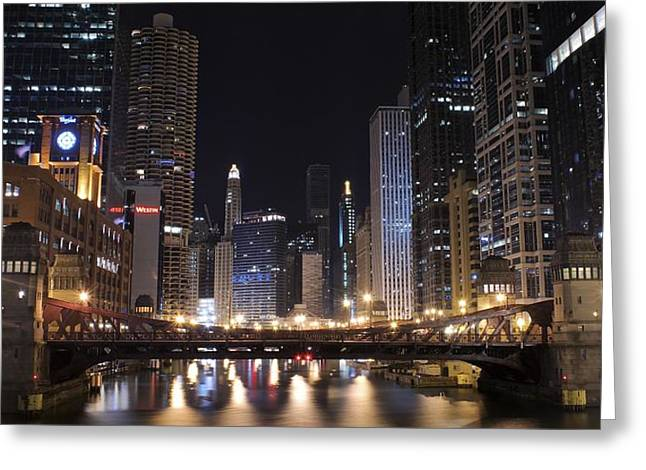The Bean Greeting Cards - Late Night in Chicago Greeting Card by Frozen in Time Fine Art Photography