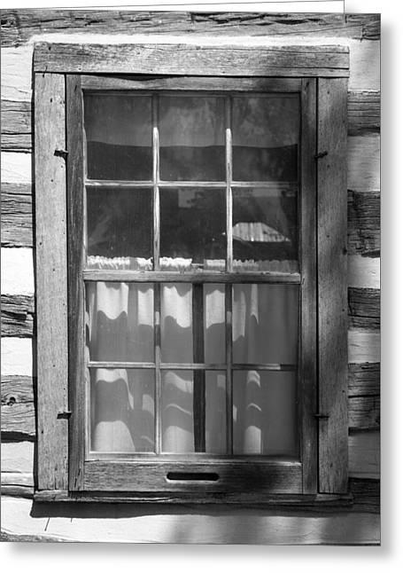 Log Cabin Photographs Greeting Cards - Lattice Window on Log Cabin Greeting Card by Donald  Erickson