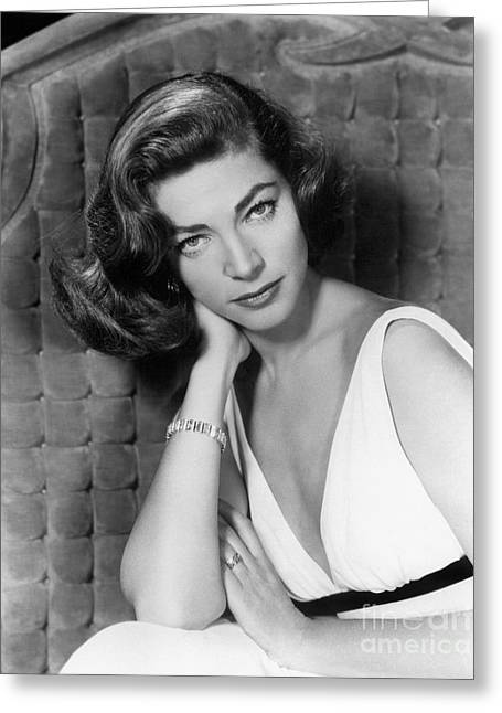 Bacall Greeting Cards - LAUREN BACALL (b.1924) Greeting Card by Granger