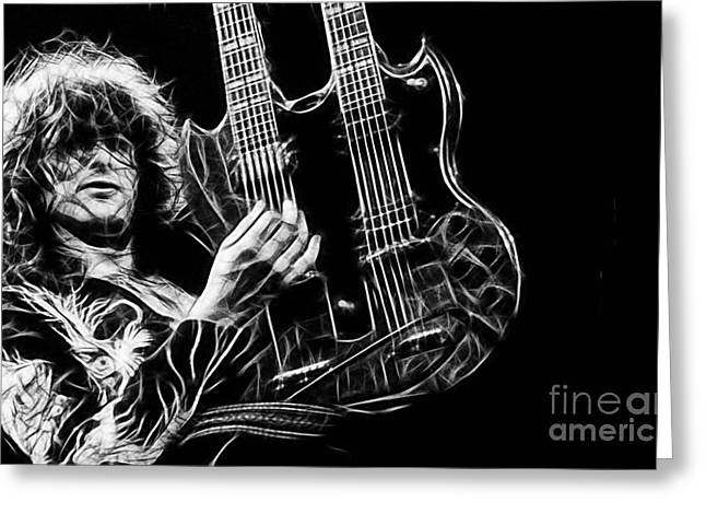 Led Zeppelin Greeting Cards - Led Zeppelin Jimmy Page Greeting Card by Marvin Blaine