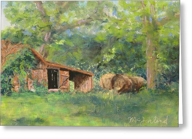 Haybales Pastels Greeting Cards - Leftover Hay Greeting Card by Lorraine McFarland