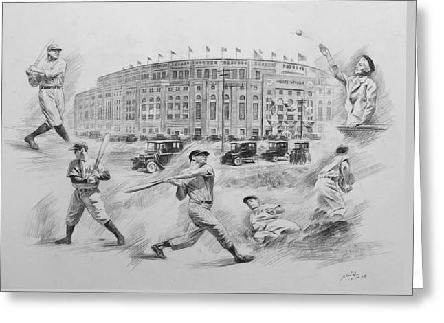 New York Stadiums Drawings Greeting Cards - Legend of Yankees Greeting Card by Mei  He