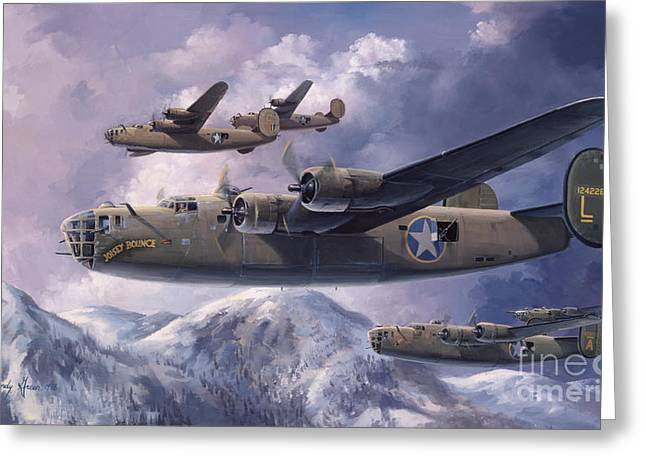 Air War Greeting Cards - LEGENDS OF THE 93rd  Greeting Card by Randy Green