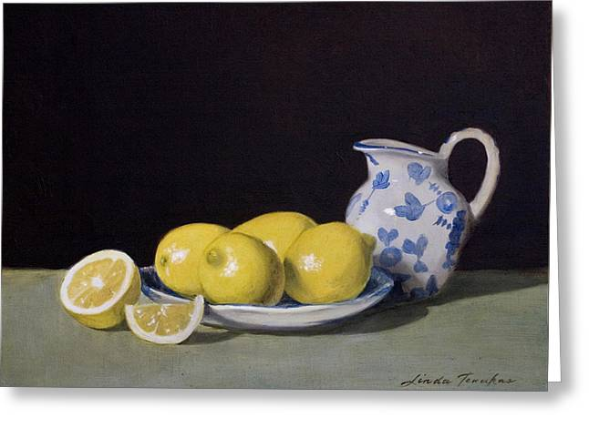 Pitcher Paintings Greeting Cards - Lemon Cream Greeting Card by Linda Tenukas