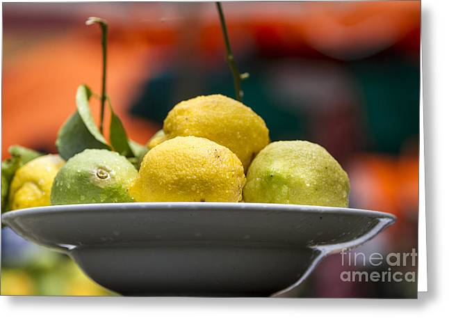 Temperature Greeting Cards - Lemons and limes  Greeting Card by Vladi Alon