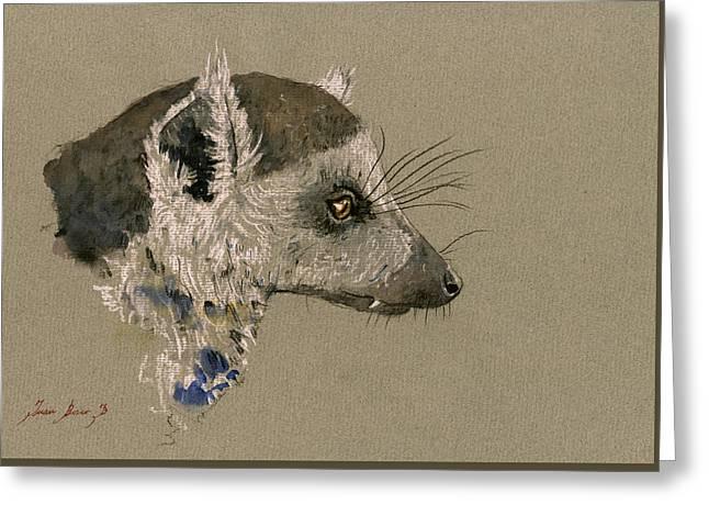 Lemur Greeting Cards - Lemur head study Greeting Card by Juan  Bosco