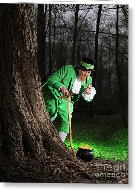 Outfit Greeting Cards - Leprechaun with Pot of Gold Greeting Card by Oleksiy Maksymenko