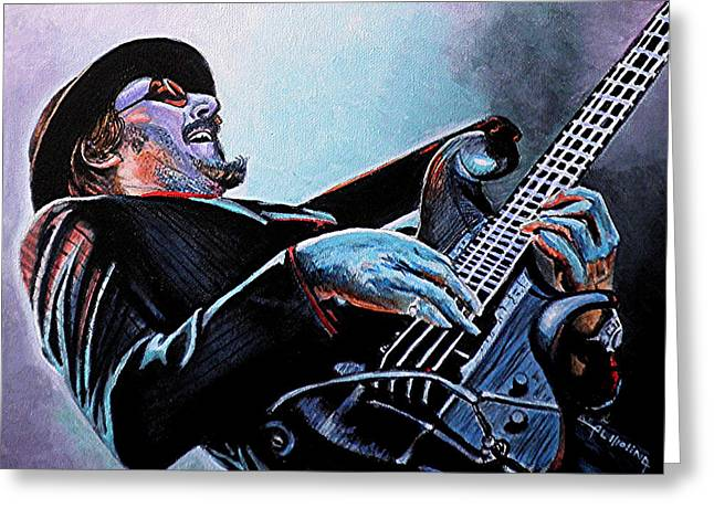 Bass Player Greeting Cards - Les Claypool Greeting Card by Al  Molina