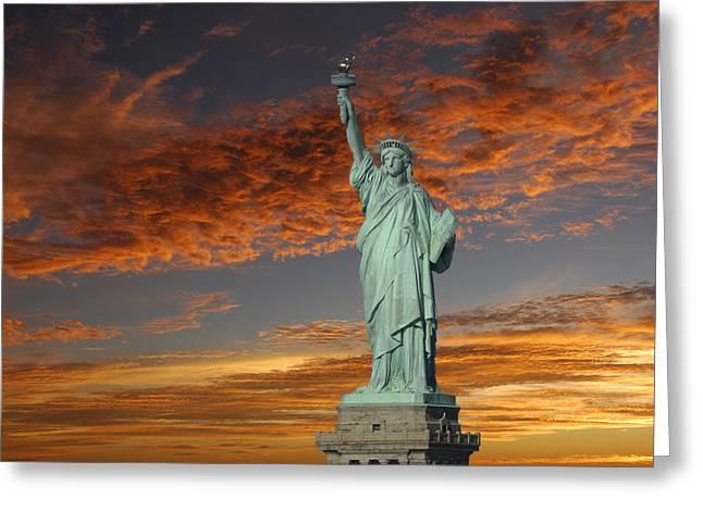 Lady Liberty Greeting Cards - Liberty II Greeting Card by Christian Heeb